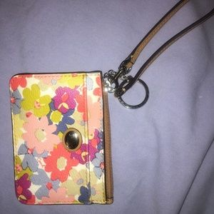 Coach floral mini wallet with key ring